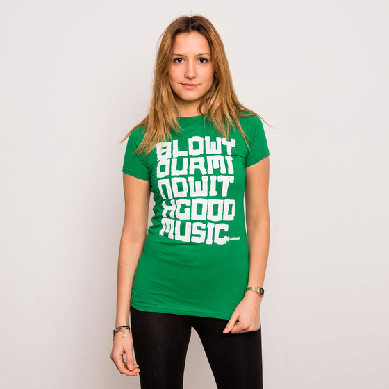 Audiolith - Blow Your Mind With Good Music Tailliertes Shirt grün-weiß XL